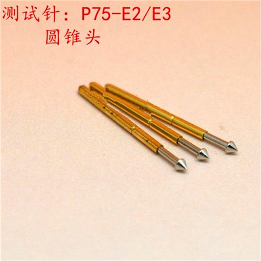 100 Pcs Spring Test Probe Pogo Pin P75-E2 Dia 1.3mm Length 16.5mm