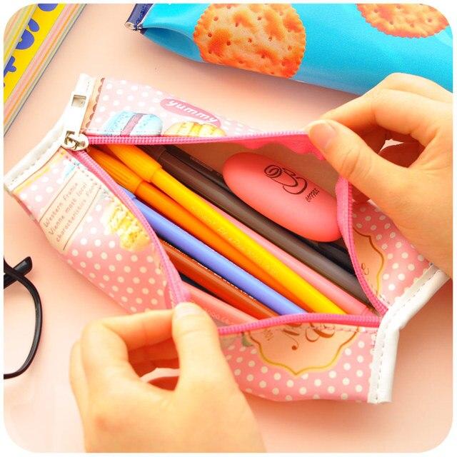 Korean Creative Macaron Cracker School Pencil Case Cute PU Leather pen bag Kawaii Stationery pouch office school supplies zakka Pencil Bags