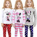 2017 spring fall new Cartoon Mouse Baby Toddlers Kids Girls Nightwear Pajamas Set Sleepwear Homewear Clothing Suit