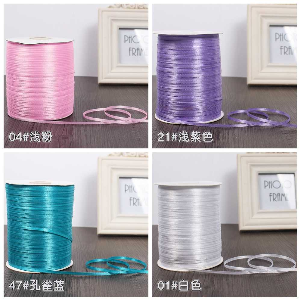 3mm Silk Satin Ribbons Christmas Halloween Baby Shower Birthday Party Wedding Gift Wrapping White Blue Pink Green Purple Ribbons