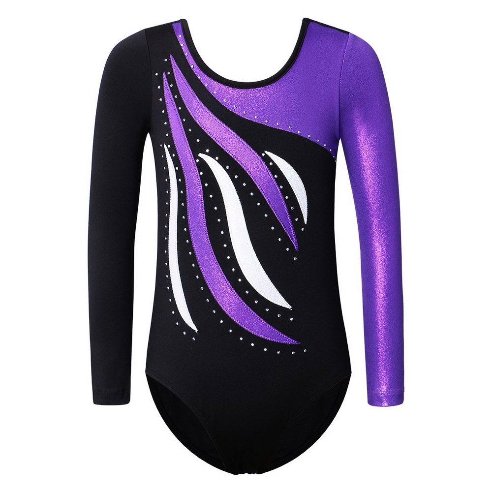 BAOHULU Kids Teens Gymnastics Leotard For Girls Long Sleeve Shiny Rhinestone Gymnastics Costume Jumpsuit Christmas Clothes Girl