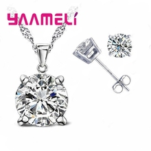 Big Round Crystal Wedding Bridal Jewelry Sets 925 Silver  Rhinestone Wedding Jewelry Necklace Sets for Women Decoration bridal jewelry sets wedding necklace earring for brides party accessories gold plated crystal decoration women