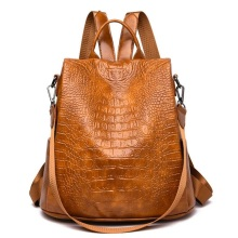цена на Women Alligator Leather Backpack Anti-Theft Casual School Backpacks For Teenager Girls Large Capacity Multifunction Backpack