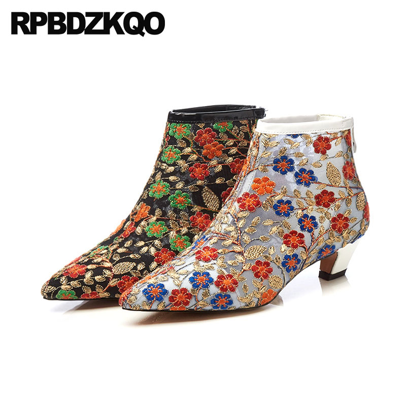 Embroidery Women Ankle Boots Medium Heel High Quality Embroidered Genuine Leather Booties Fashion Pointed Toe Shoes Chunky 2018 flower embroidery bridal winter chinese lace up women ankle boots medium heel embroidered red satin wedding booties stiletto