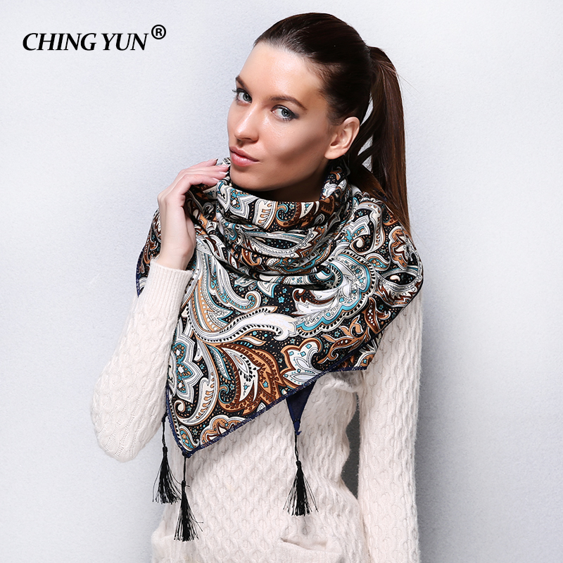 2018 New style Fashion Russian Ethnic Pattern Winter Woman   Scarf   Warm   Scarf     Wrap   Soft hair Lady Shawl Triangle   Scarves   fw001