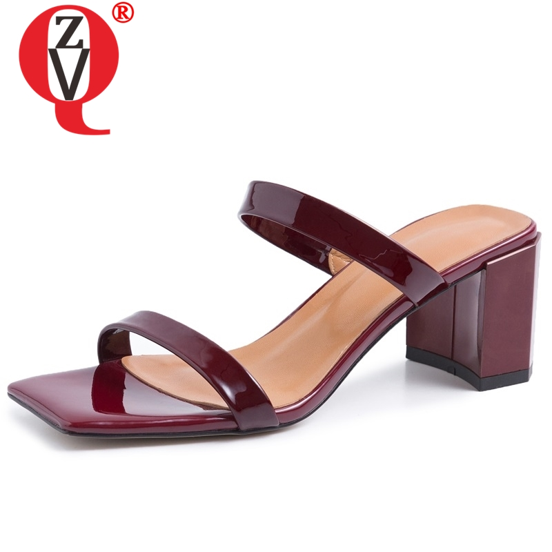 ZVQ sexy Wine red Slides genuine leather Beach woman slippers summer fashion girl 6 5 cm