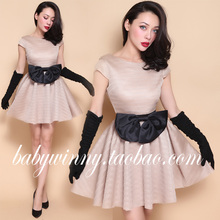 FREE SHIPPING 2016 New High Quality Sexy Vintage Classic Mesh Sweet Black Bow Nude Ball Gown Mini Dresses Women O Neck Clothes