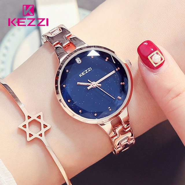 KEZZI Woman Bracelet Watches 2018 Montre Femme Luxury Bright Starry Sky Dial Clo