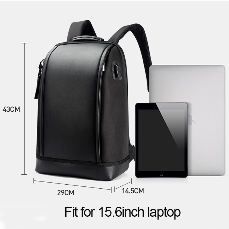 BOPAI USB External Charge Anti theft Laptop Backpack Travel Large Capacity 15.6 inch Laptop Bag Leather Waterproof Backpack Men