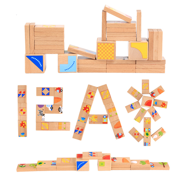 32 Pcs/set Wooden Dominoes Block Cartoon Animal Colored Jigsaw Tangram Educational Baby Toys Parent-Child Interactive Game Gift