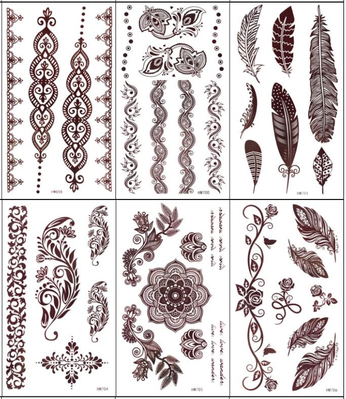 5pcs Brown Henna Tattoo Flower Feather Totem Designs Temporary Tattoo Sticker Body Art  Women Party Tatoo Tatuagem Tatuaje