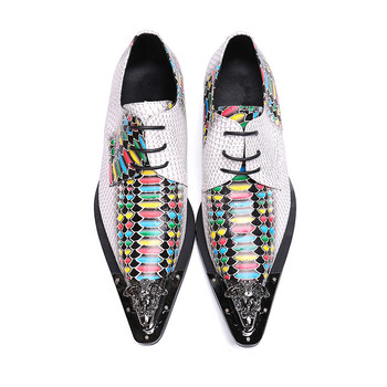 Men's pointed toe dress shoes  Fish scale pattern colour river lace-up oxford for men party wedding shoes men size 38-46