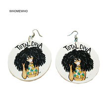 Wood Round Africa TOTAL DIVA Bubble Girl Letters Tribal Drop Earrings Retro Wooden African Hiphop Jewelry Party Club Accessories unfinished wood printing africa girl round drop earrings wooden african hiphop tribal handmade diy jewelry natural accessories