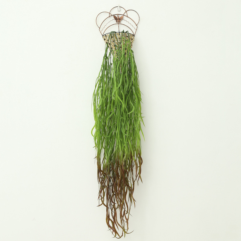 Decorative plastic weeds with cane walls imitating golden bells and willows Bird 39 s nest basket hanging on the wall in Artificial Plants from Home amp Garden