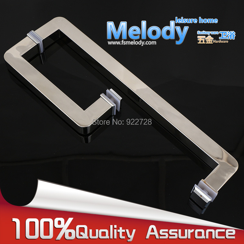 H007LR Frameless Bath room Shower glass Door Square tube Handle L shape with R 304 stainless steel polish Chrome
