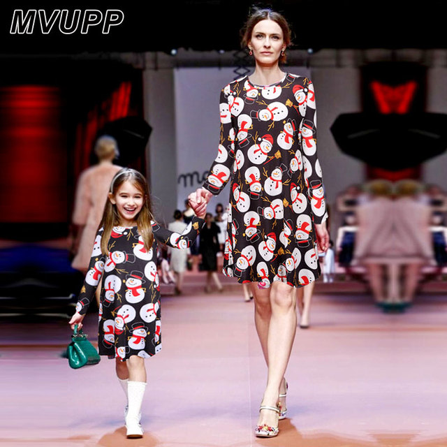 Christmas mother daughter dresses Snowman Print Round Collar Family Matching  outfits family christmas pajamas family look 2da32ccee