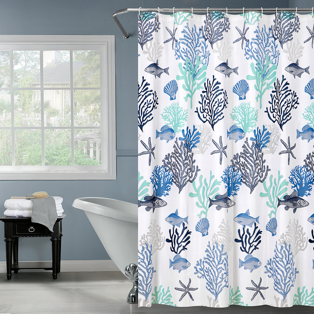 Happy Tree PEAV Blue Undersea World Shower Curtain Sea