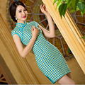 Chinese Women Satin Cheongsam Vintage Lattice Qipao Cotton Short Linen Qipao Chinese Oriental Dresses Traditional Chinese Dress