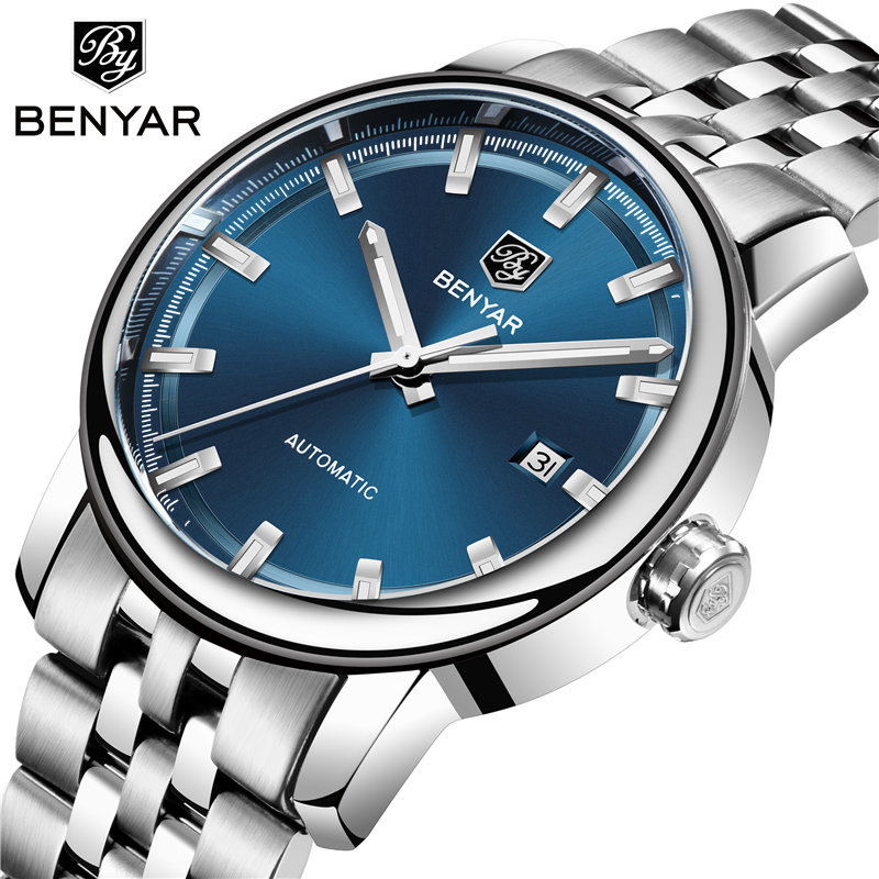 BENYAR 2019 New Fashion Top Luxury Brand Leather Watch Automatic Men Wristwatch Men Mechanical Steel Watches