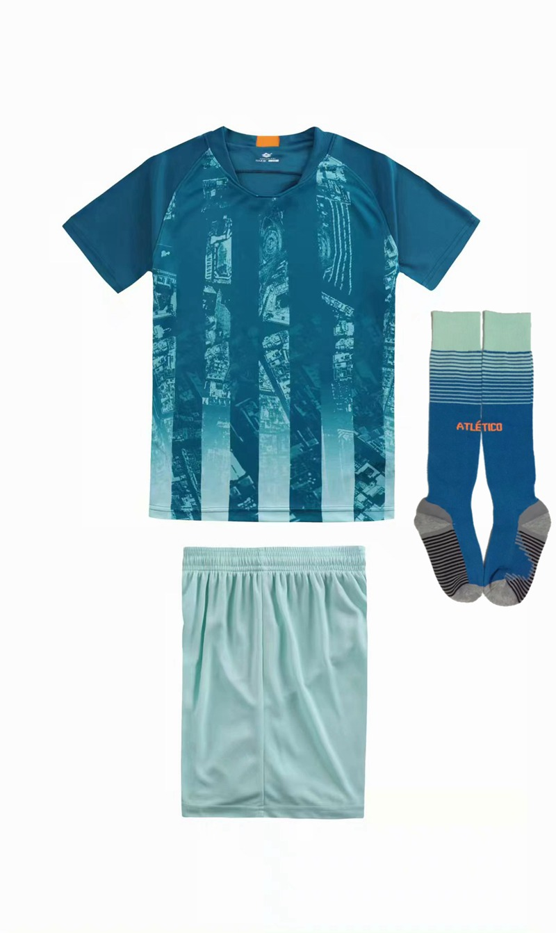 Children Sets football uniforms boys and girls sports kids youth training suits blank custom print soccer set with socks 29