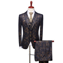 YUSHU British Style Crocodile Pattern Mens Wedding Suit Male Slim Fit Suits Business Formal Party Classic Deep Blue Men Costume(China)