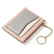 цены Korean version of the mosaic ladies wallet Multi-card zipper card package keychain small wallet Coin purse female