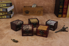 1PC  Chic Case Holder Wooden Pirate Jewelry Storage Box Vintage Treasure Chest organizer NA 005