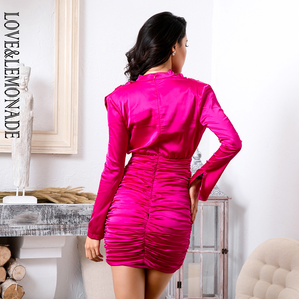 Love&Lemonade High Collar Loose Upper Body Pleated Decoration Elastic Rayon Bodycon Going Out Party Dress LM81722 RED