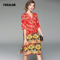 YOCALOR Hot Sale 100 Real Silk Printing Dresses With Diamond Collar Women Elegant Summer Casual Party