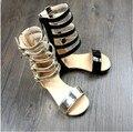 Оптовая 10 пар/лот Высокое качество Римские Девушки Сандалии Bicrofiber обувь для Девочек Мода Детская Обувь Гладиатор Детские сандалии