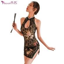 Cheongsam Stand Collar Erotic Lingerie Sleepwear Dress Transparent Hollow Sexy Slit Invisible Zipper Hot Underwear