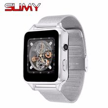 Slimy Bluetooth Smart Watch Phone X6 Support 2G SIM TF Card Relogio Reloj Inteligente Wearable Devices Smartwatch Metal Strap(China)
