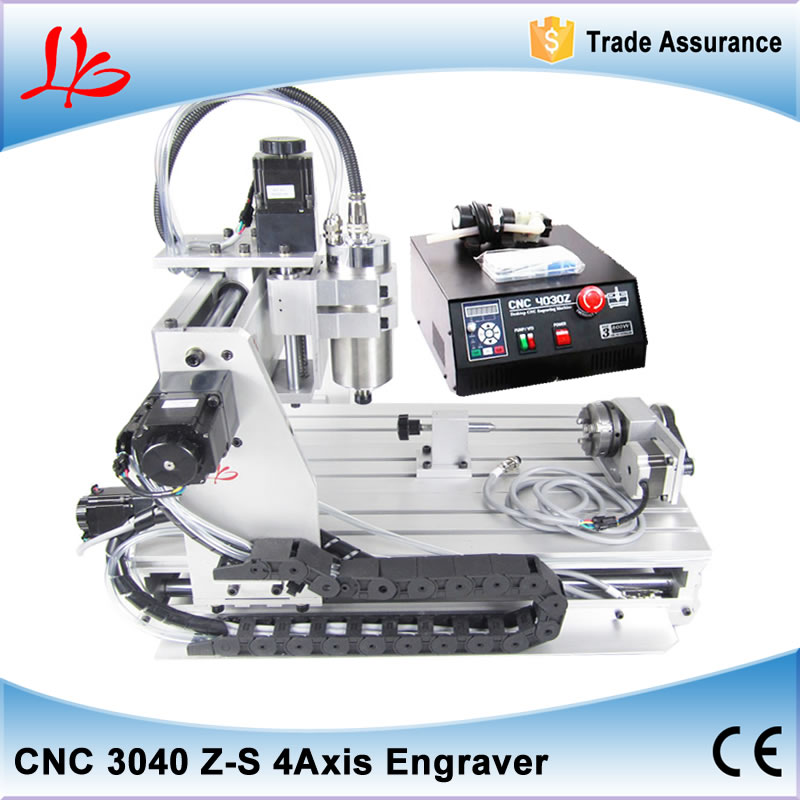 CNC router metal cutting machine CNC 3040 Z-S 4 Axis,800w water cooled spindle 3d cnc stone sculpture machine 4 axis cnc router 6040 2200w water cooled cnc spindle mini metal woodworking cutting machine