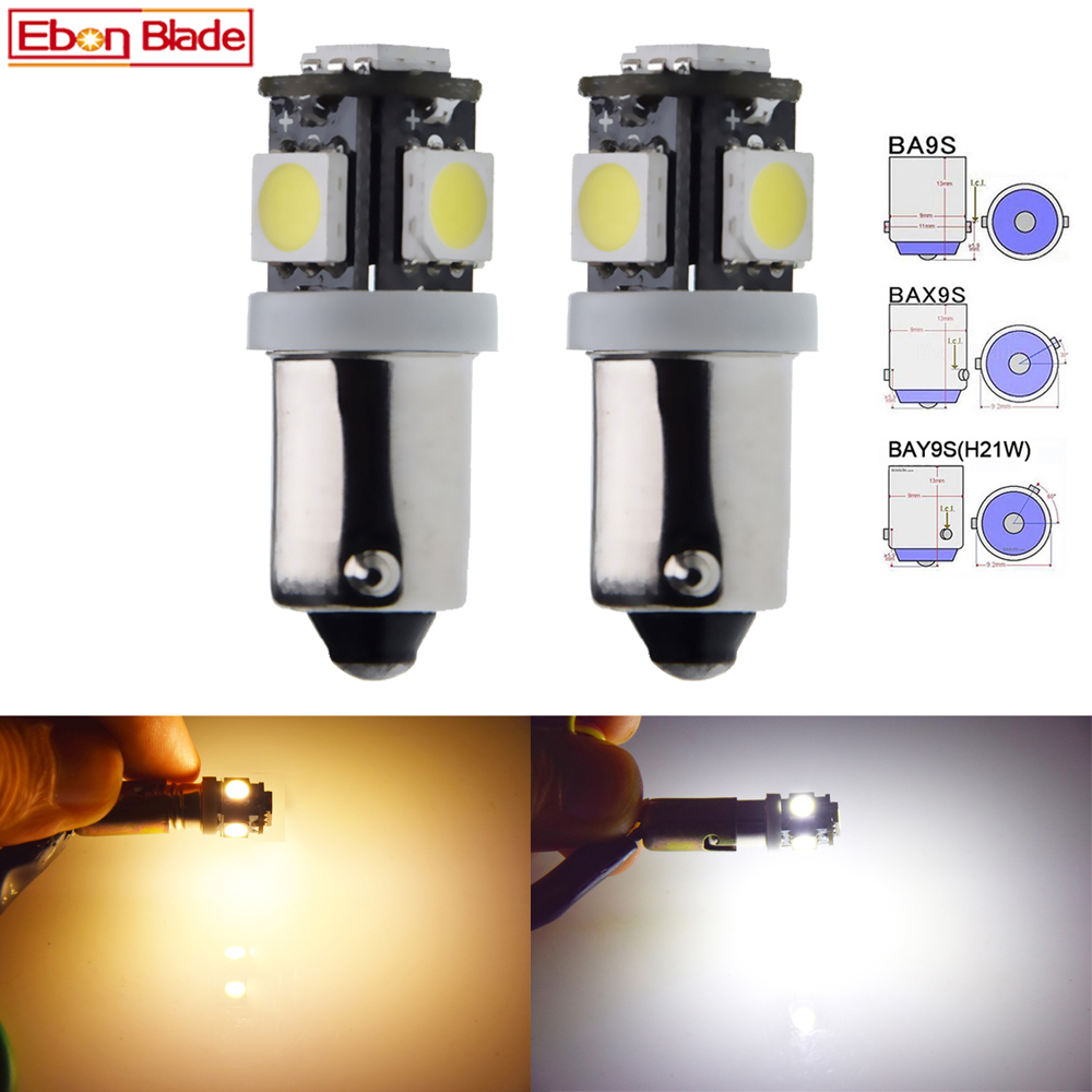 2 x BA9S BAX9S BAY9S H21W Car LED Bulbs 5SMD Auto Vehicle Dome Reverse Pakring Light Side Wedge Bulb Lamp Warm White 6V 12V 24V image