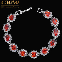 8 Colors Russian Design White Gold Plated Big Red Ruby CZ Stone And Crystal Rhinestone Flower