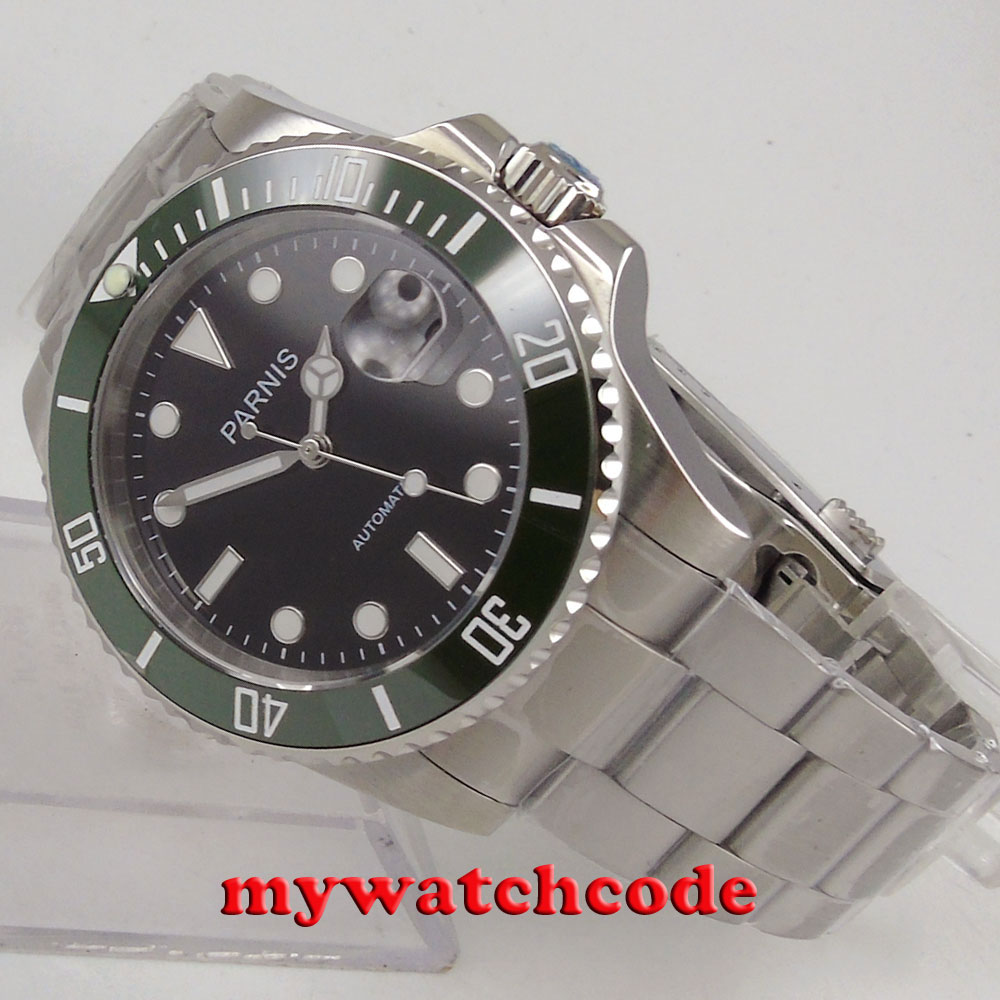 40mm Parnis black dial green bezel sapphire glass MIYOTA automatic Mens Watch цена и фото