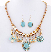 SPX5642 Fashion Hot Sale Metal Alloy Bohemian Blue Stone Charm Jewelry Necklaces with Earrings wholesale