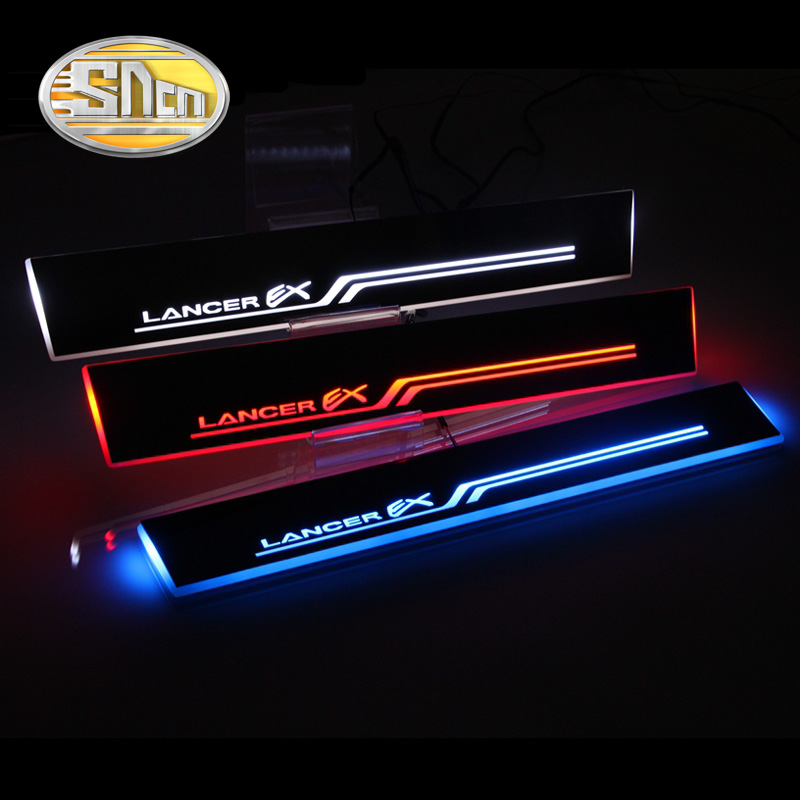 SNCN Waterproof Acrylic Moving LED Welcome Pedal Scuff Plate Pedal Door Sill Pathway Light For Mitsubishi Lancer 2009 - 2015 fsylx led door moving scuff welcome pedal door sill plate light for audi q3 2013 2015 white led pedal light for q7 2006 2015