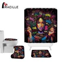 Miracille Artistic Africa Women Printed Shower Curtain Set Polyester Bath Curtain With Bathroom Mat Set EU Portrait