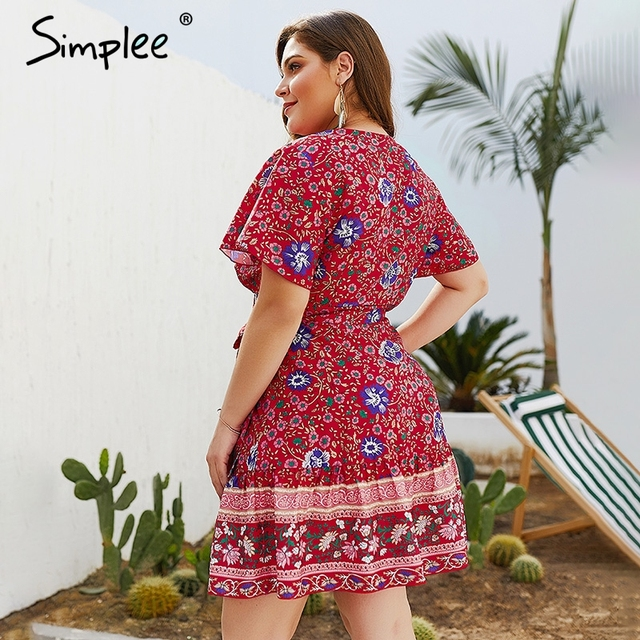 Plus Size A-Line Floral Boho Beach Sundress