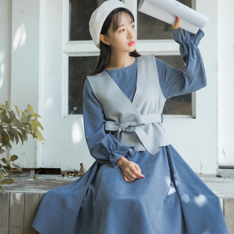 New Arrival Solid Blue Women Dress Vintage Mori Girl Style Flare Sleeve Loose Casual Knee Length