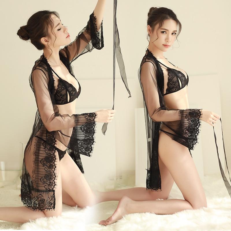 Nightgowns   &   Sleepshirts   Ladies lace sexy adult   Nightgowns   mesh nightdress three-piece Underwear