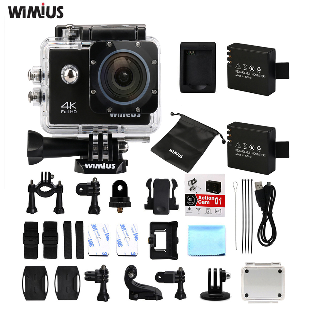 Wimius Action Camera 4K Wifi Sports Helmet Cam Go Waterproof 40M Pro Full HD 1080P/60fps Mini Video Cameras Card DVR+Accessories eken mini sports action cameras h9 h9r wide angle 4k 25fps hd video helmet cam 2 0 go underwater pro vr go pro cameras
