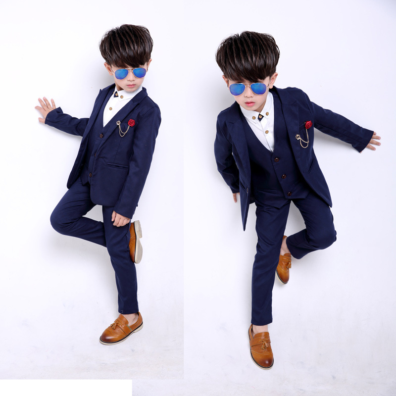ФОТО Big Boys Blazer Suits 2017 Spring Cotton Long Sleeve Formal Jacket+Vest+Pants Blazers Blue Single Breasted Wedding Party Blazer