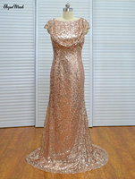 Sparkly A Line Cap Sleeves Gold Sequins Bridesmaid Dresses Floor Length Backless Party Dresses 2017