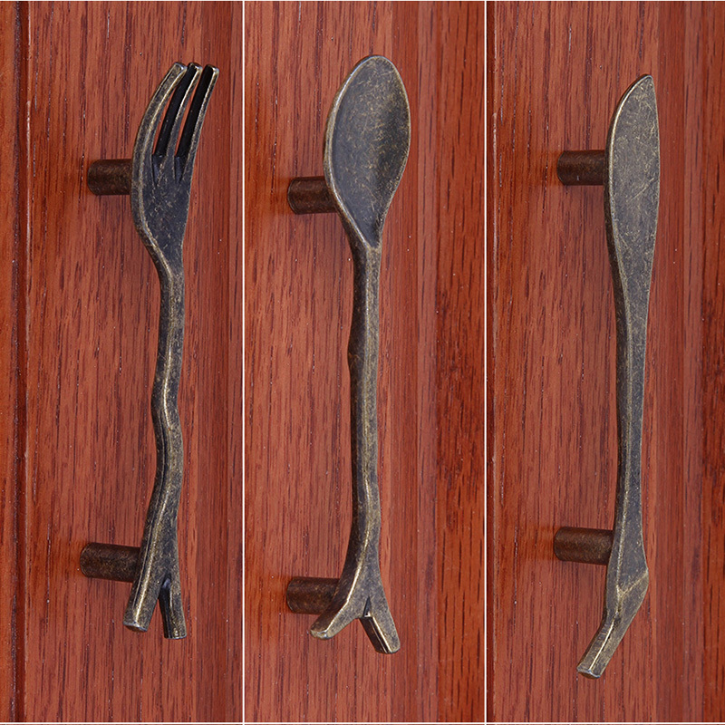 Bronze Spoon Knife Fork Kitchen Cabinet Handles And Knobs