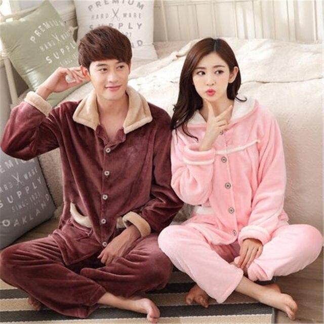 45254367545 100% Coral Fleece Couples pajamas thick flannel pajamas winter autumn  thickening terry women cotton pajama