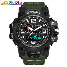 SYNOKE Brand Digital Watch Men G Style Cool Waterproof  Shock Sports Military Analog Watches