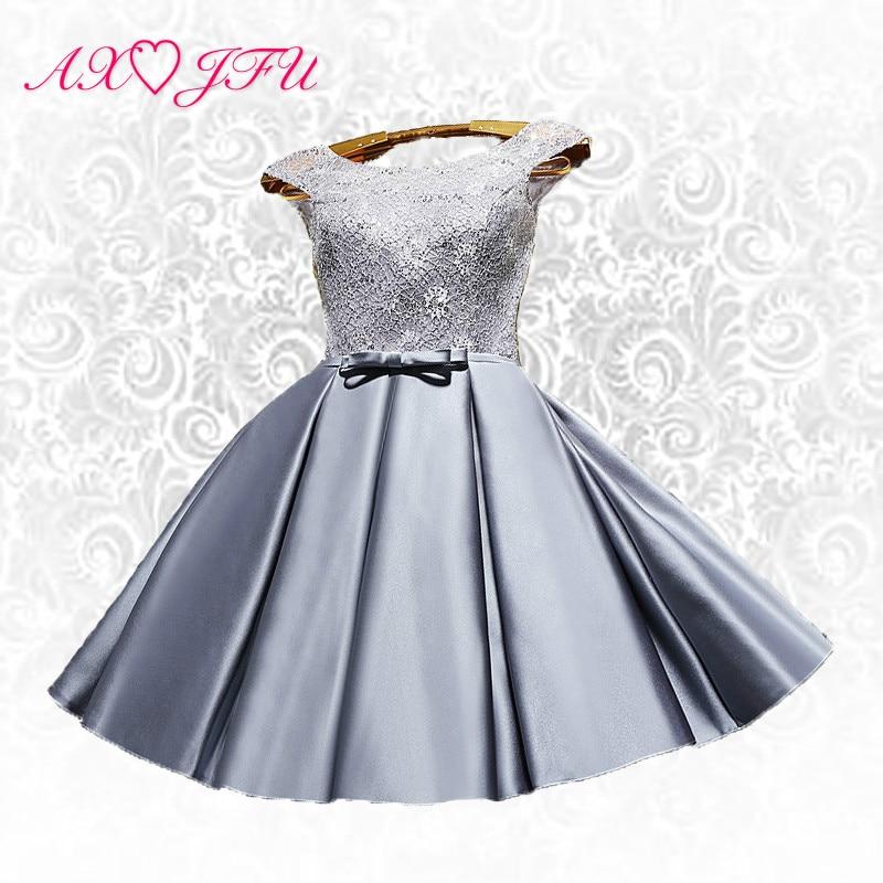 AXJFU Cortos vestidos de noche de encaje rojo flor gris personalizar Ruffles lace up Bow vestidos de noche pequeño vestido blanco