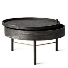 Многофункциональный вращающийся кофейный столик для хранения современный простой белый дубовый Настольный поднос для чая из натурального цельного дерева, здоровый ручной работы